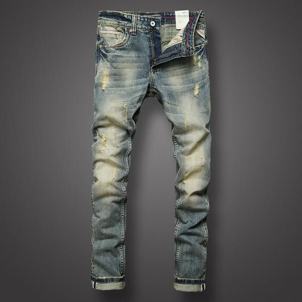 Retro Summer Men/'s Ripped Zipper Denim Long Pants Slim Fit Casual Jeans Trouser