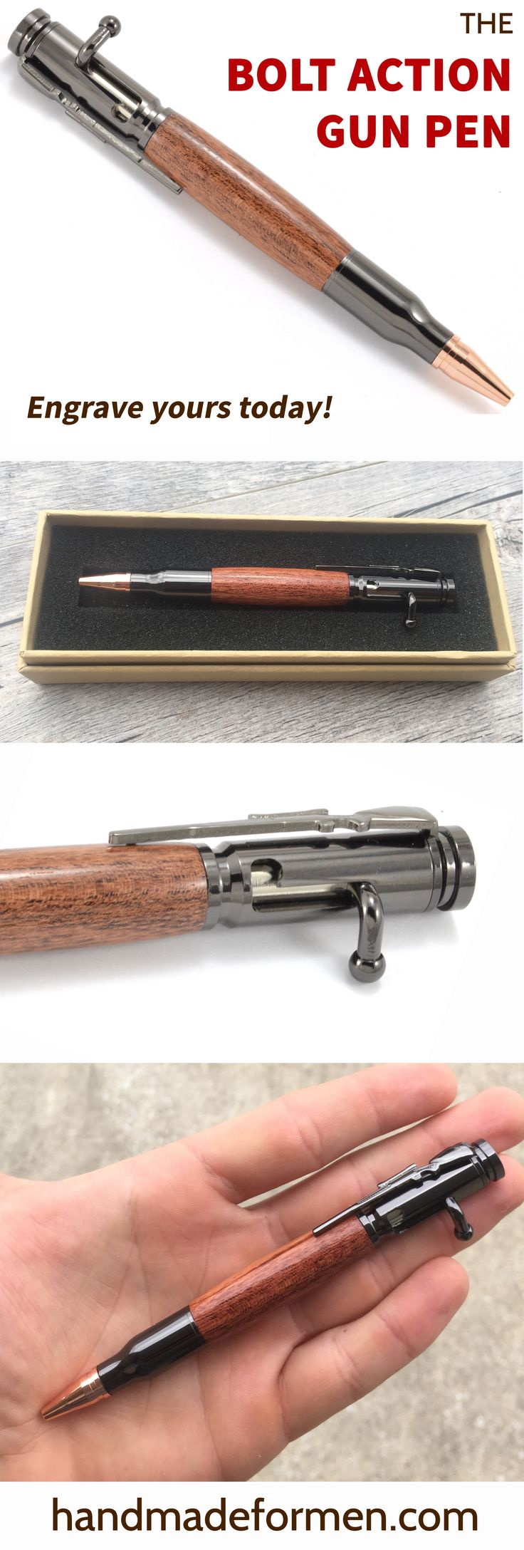 Whether you're a history buff, gun lover, hunter, or you just like awesome pens, this is the one for you. Our Bolt Action Bullet pens open like a bolt action rifle, have a .30-06 caliber bullet tip, a