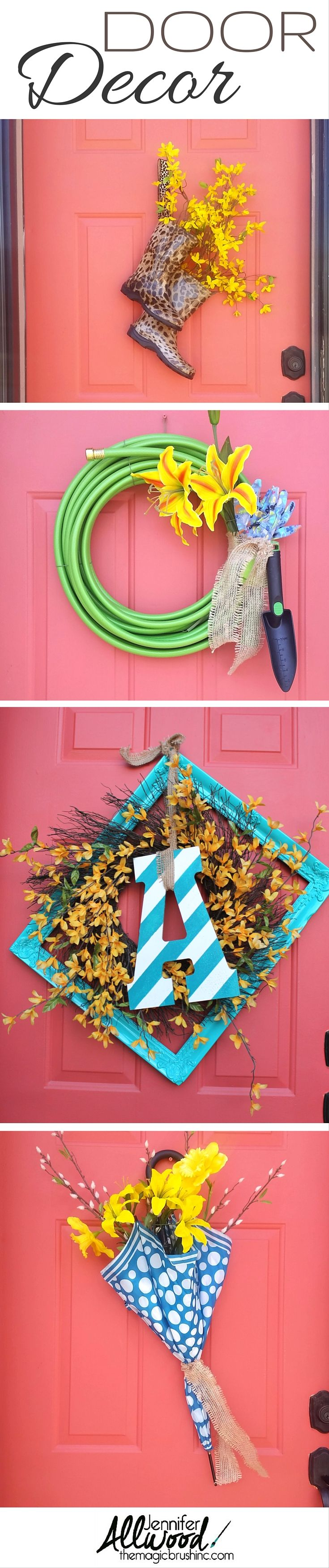Front door decoration ideas. Rain boots + flowers, garden hose + flowers, painted art frame + painted wooden letter + flowers and a bright bold umbrella + flowers. More decorating tips and DIY projects at theMagicBrushinc.com