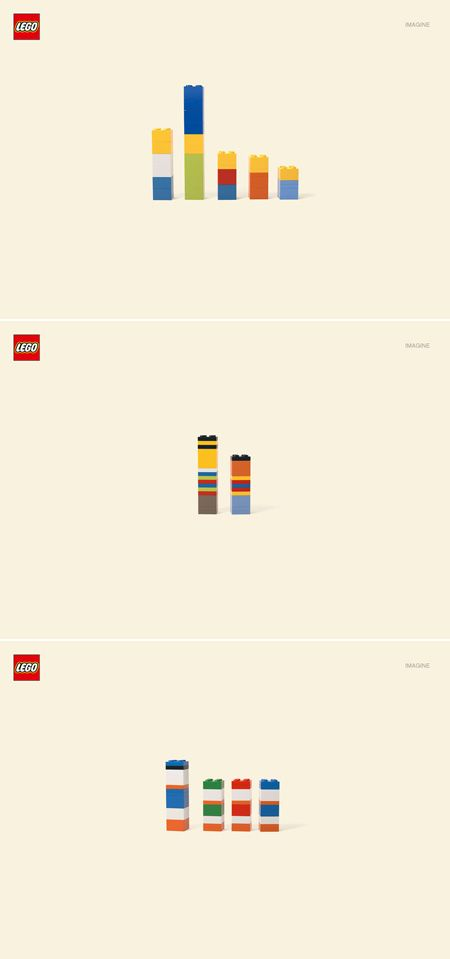 Lego: Imagine    When you're designing an info graphic, you ask yourself: what's the least I can say to convey what I mean? These posters from LEGO nail it.