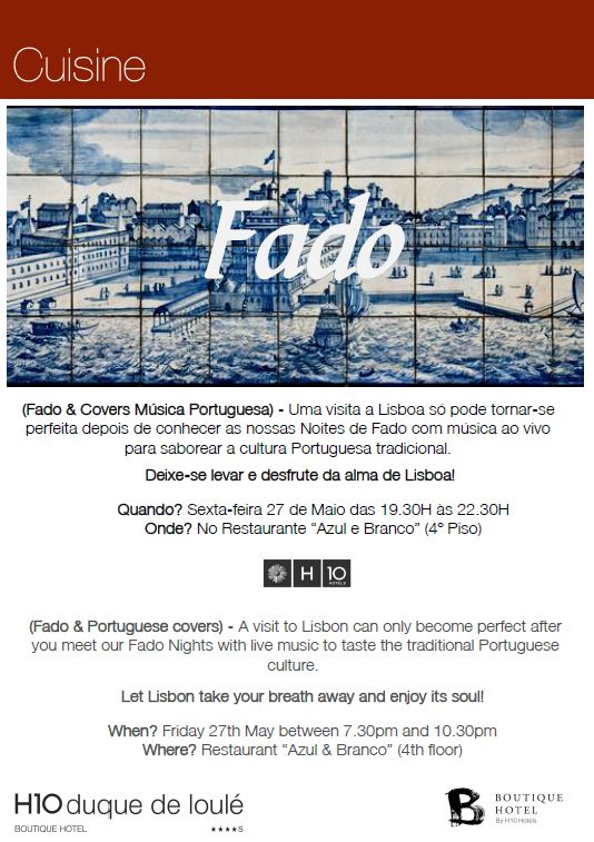 Our Azul e Branco restaurant hosts once more an amazing Fado night on Friday and an acoustic live performance on Saturday.  Book your table here:  https://www.facebook.com/azulebrancolisboa/