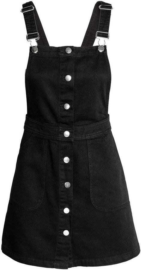 H&M - Denim Bib Overall Dress - Black - Ladies