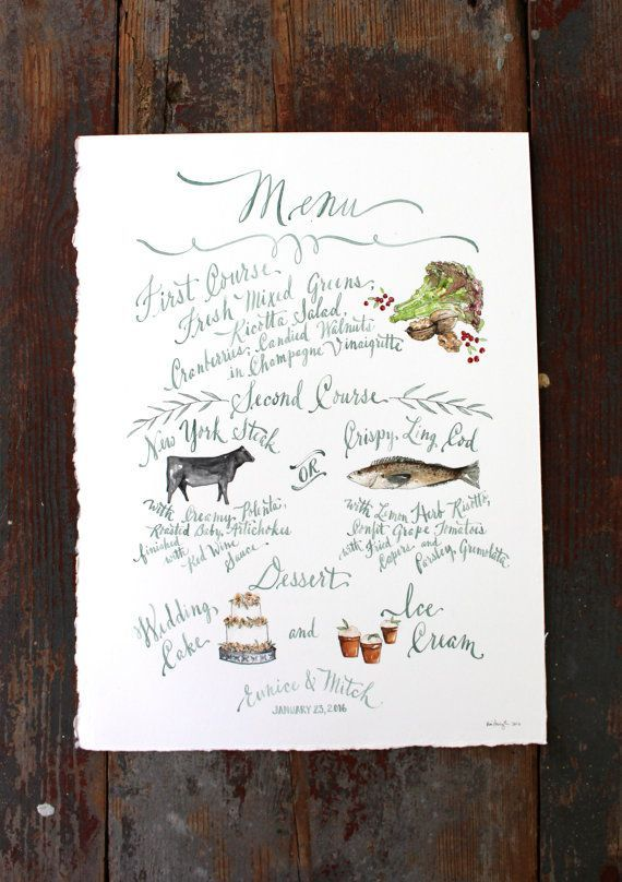 Custom wedding menu with watercolor illustrations