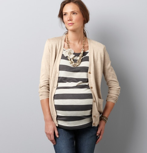Maternity Style: Tan Cardie, Black and White Stripped Top and Blue Jeans