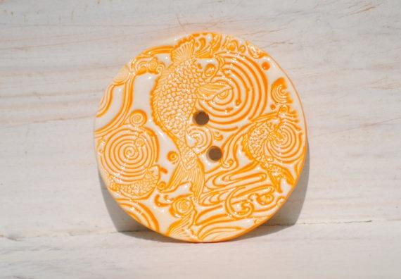 Japanese Koi Carp button Bright Orange Gold Fish by CariadClay,