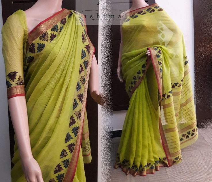 Code:2408174 - Price INR:6800/- , Cotton Kota Saree With Kalamkari Applique Border.