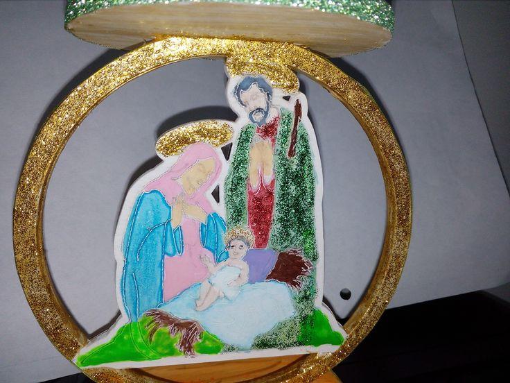 Candelabro Sagrada Familia, en mdf.  2017.