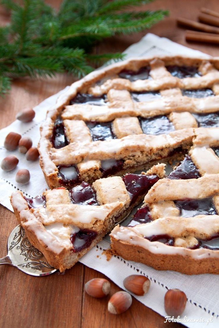 Hazelnut Shortbread Tart with Raspberry Jam and Lemon Icing Glaze.