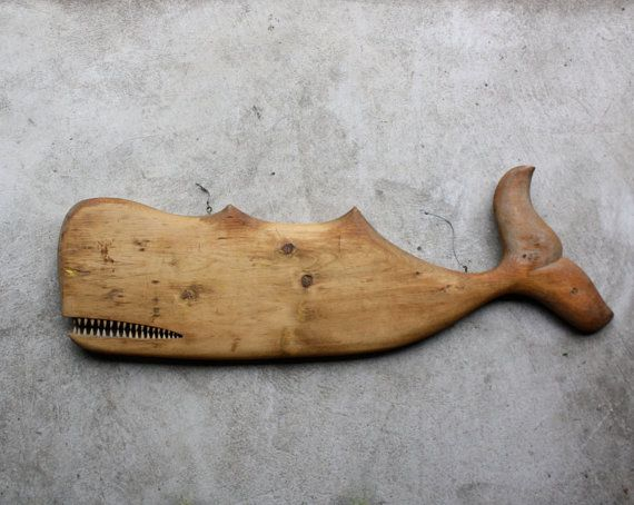 Big Antique Hand Carved Whale