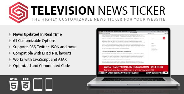 Television News Ticker . The Television News Ticker script allows you to generate on your website a news ticker like the ones used by television stations to publish the latest news, election results, sport results, whether warnings,  stock quotes,