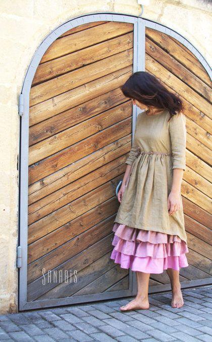 Платья ручной работы. Заказать Многослойное платье из льна «Чайная роза». Ксения Берестовая. Ярмарка Мастеров. Льняное платье, лён