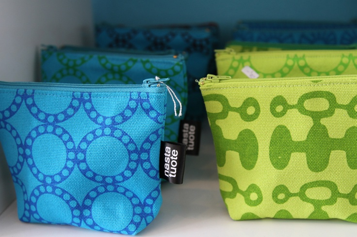 Jaana Pajuniemi's nastatuote makes colourful bags and pouches.