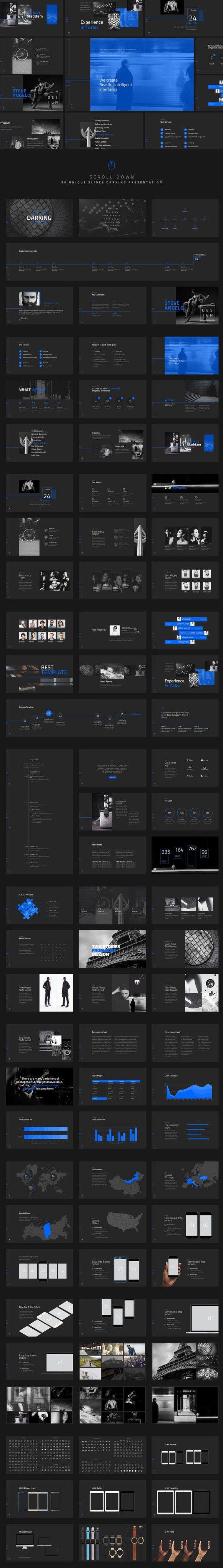 Darking-Minimal Powerpoint Template. Business Infographic