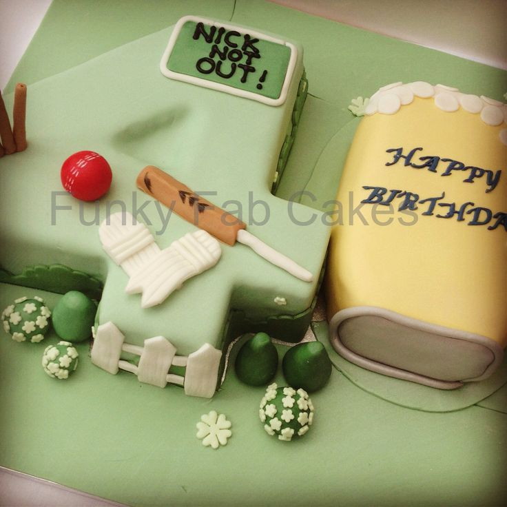 40th birthday cake with cricket and beer theme