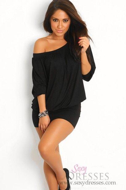 Plain Black Tunic Round Neck Long Sleeves Club Dresses