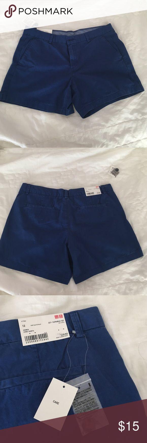 UNIQLO Blue Chino Women's Shorts (TAG STILL ON) BRAND NEW WITH TAGS - Blue women's chino shorts from UNIQLO Size 12 - No returns, no trades Uniqlo Shorts