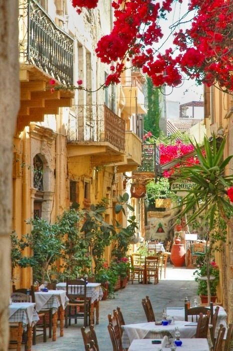 "streets of Crete (Greece)......one of my photography instructors stressed ""foliage in the foreground""...put to good use in the photo"