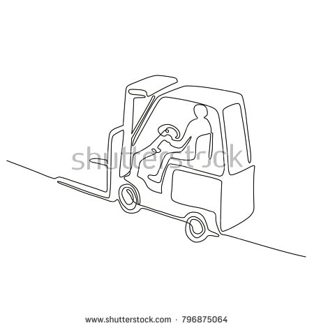 Continuous line drawing illustration of a warehouse operator driver driving a forklift truck viewed from high angle done in sketch or doodle style.   #forklift #doodle #illustration