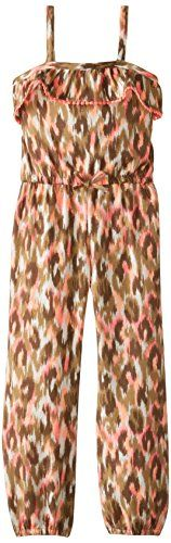 Pogo Club Little Girls' Allover Print Long Jumpsuit, Neon Coral, Medium