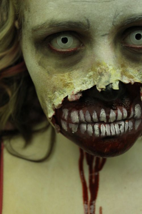 macabre Zombie SFX makeup and prosthetics idea / Paired with all-white zombie FX contact lenses ~ http://www.pinterest.com/pin/350717889705763104/
