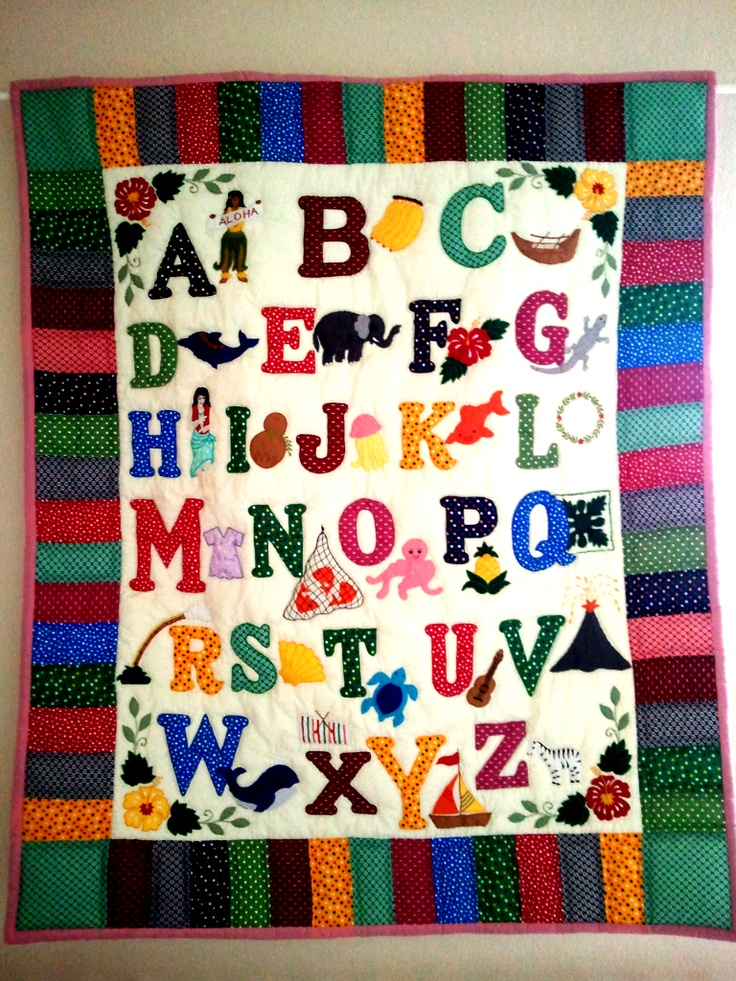 Hawaiian Abc Quilt For The Kids Alphabet Quilt Quilts