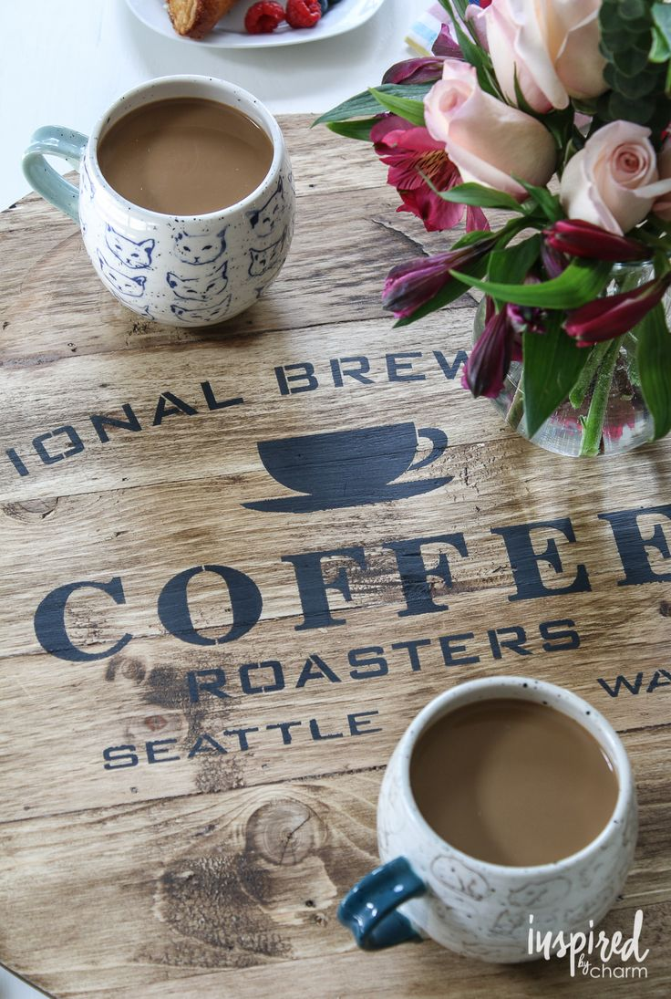 DIY Stenciled Coffee Tray from @inspiredbycharm. I believe those cat coffee mugs are by Anthropologie.