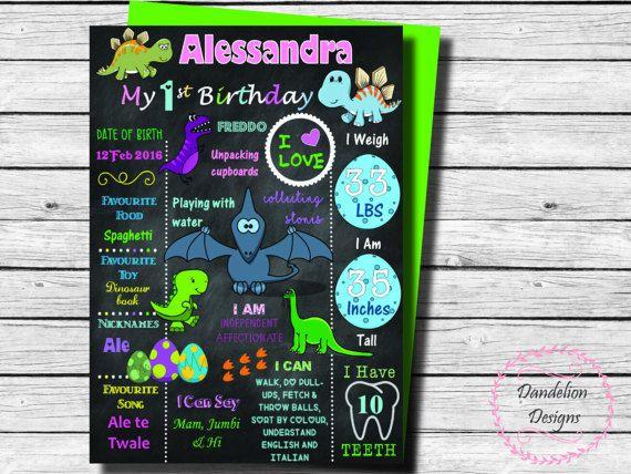 Dinosaur chalkboard dinosaur poster dinosaur 1st birthday