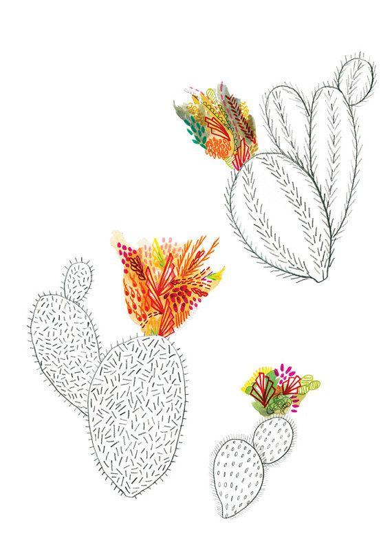 Cacti 5x7 print/postcard by ChipmunkCheeks on Etsy, $4.00