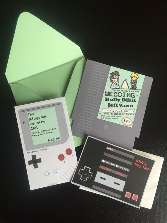Unique Nintendo Gameboy Wedding Invitation with Reception Card & RSVP Card…