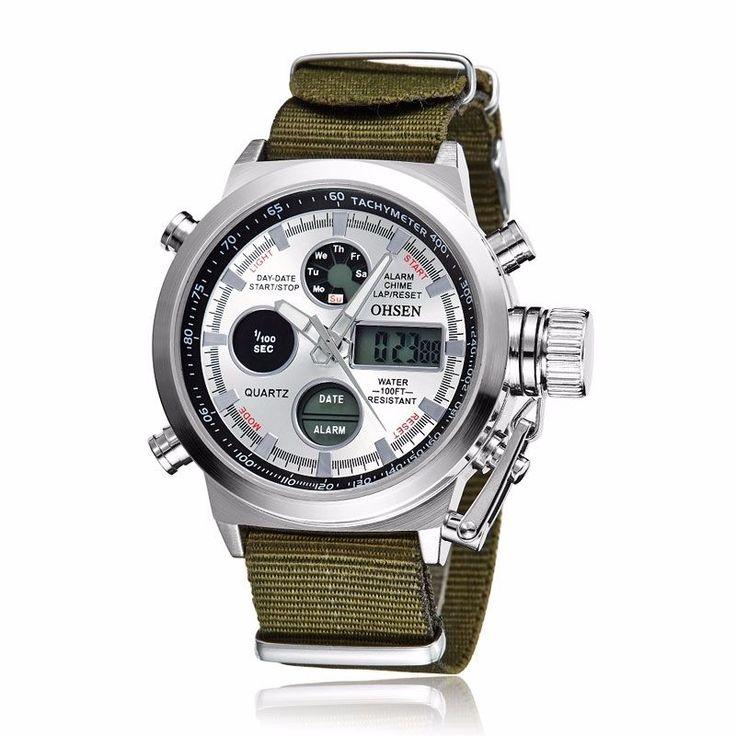 Ohsen Men'S Date Quartz Led & Analog Wrist Watch Countdown Stopwatch Alarm