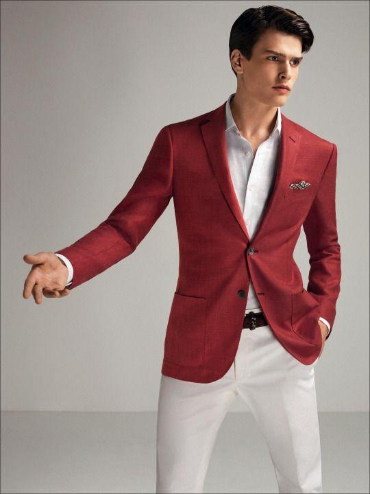 2-button, red silk/wool panama jacket.