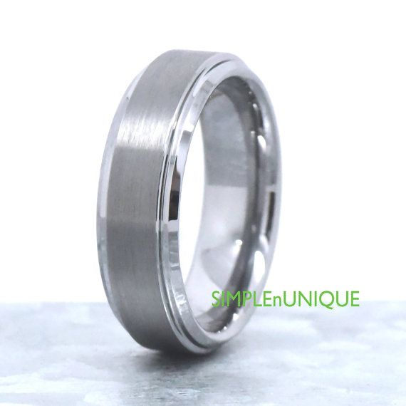 7MM Mens Promise Ring Tungsten Men's Wedding Band by SIMPLEnUNIQUE