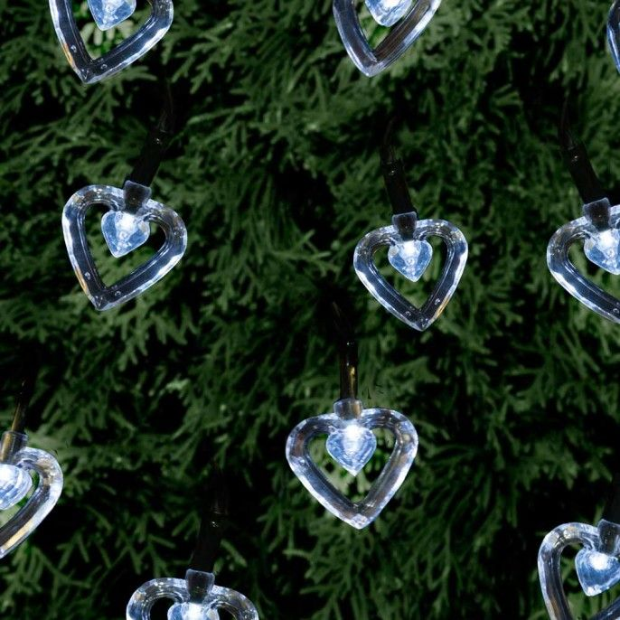 20 HEART STRING SOLAR LIGHTS - Solar Lights - Garden & Outdoor | Poundstretcher