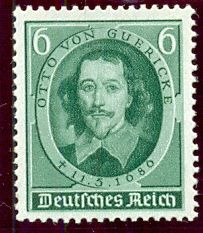 4th May 1936. 250th Anniversary of the Death of Otto von Guericke   The death of the physicist Otto von Guericke 250 years ago. (1602-1686). Von Guericke was the Mayor of Magdeburg and the inventer of the air pump. Stamp valid until the 31st December 1937.