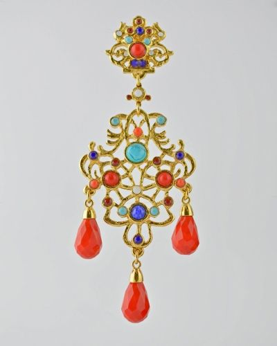 MULTI BRIGHT SCROLL LRG.DROP 24 Karat gold scroll design earring with multi color stones of turquoise , sodalite and red glass and red glass faceted tear drops . Earring is clip on . Earring is 4.5 inches long and 1.3/4 inches at widest point. Get a 20% discount with promo code: Olusegun683. $390