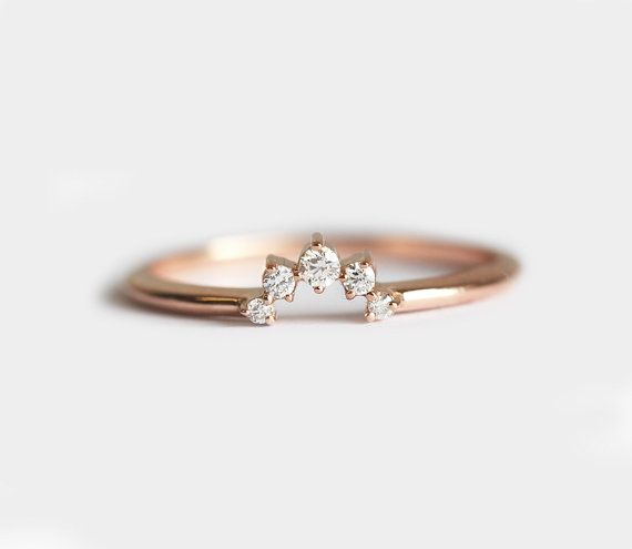 Diamond Crown Ring Matching Diamond Band Diamond by MinimalVS