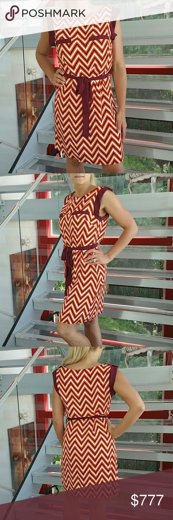 """""""Chic n' Chevron"""" print dress NWOT Brand new no tags  MADE IN THE USA!!  Playful chevron print dress. Ties at waist with material belt. Pair with a denim jacket and statement sneakers or with heels and gold statement jewelry!  Slip on style Button detail at neckline 100% polyester LENGTH approx 34"""" Bust side to side approx 17"""" Dresses"""