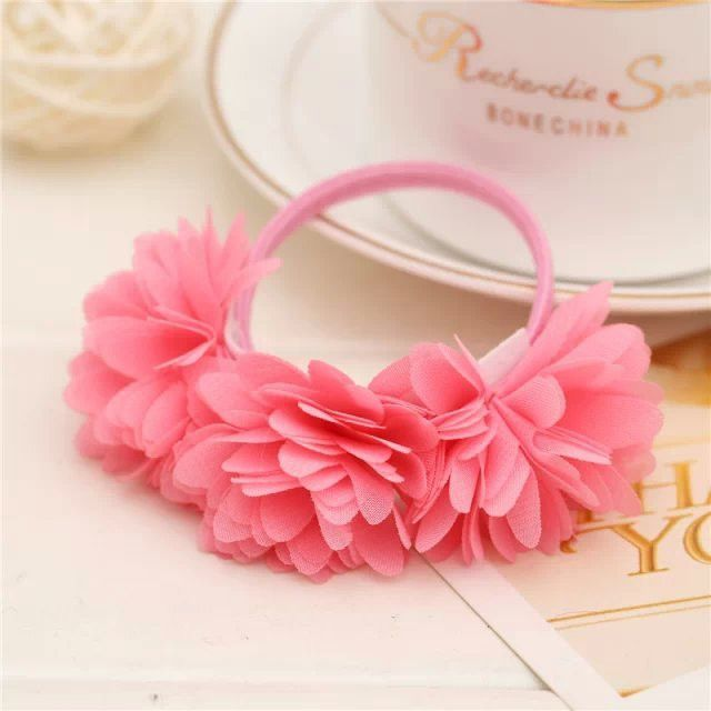 Chiffon flowers children baby girls hair accessories rubber bands barrettes girl headwear bow Retail wholesale Boutique SF-479