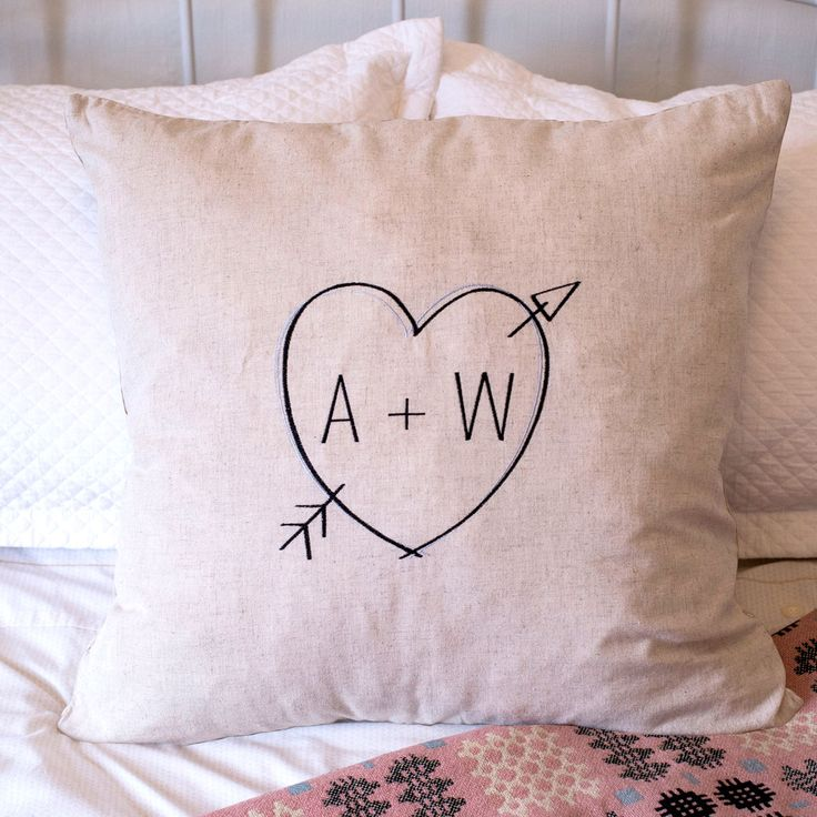 Natural Cushion - Heart Initials, A Great Personalised Gift For The Living Room | GettingPersonal.co.uk