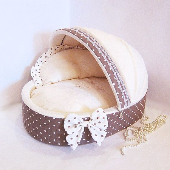 Brown polka dot and ivory pet house Puppy bed by AnnaHappydog