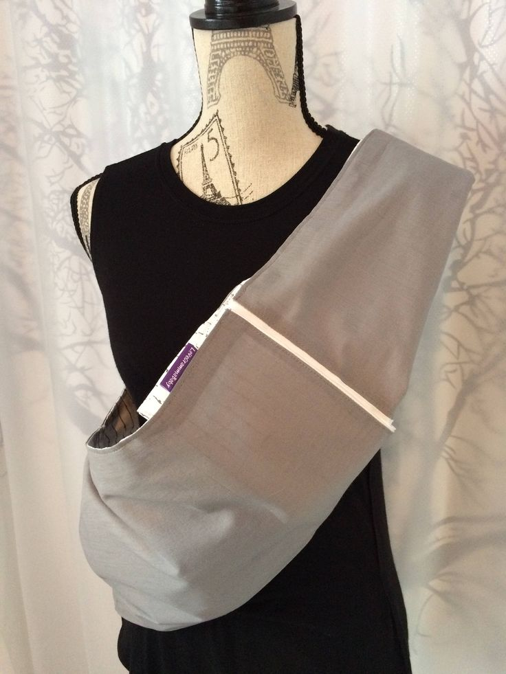 Adjustable, Reversible Pouch Sling in Grey & Cream 100% natural cotton featuring our Grow Feature Insert. Made in Canada.