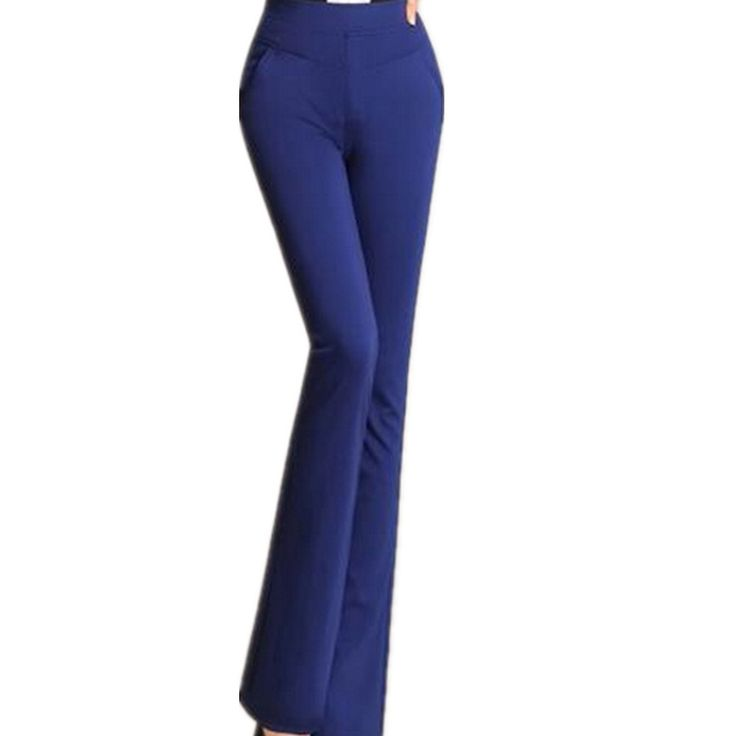 26-35 New 2016 Fall female high waist flare trousers elastic, Ladies Solid  casual pants,ol work long trousers  candy Color alishoppbrasil