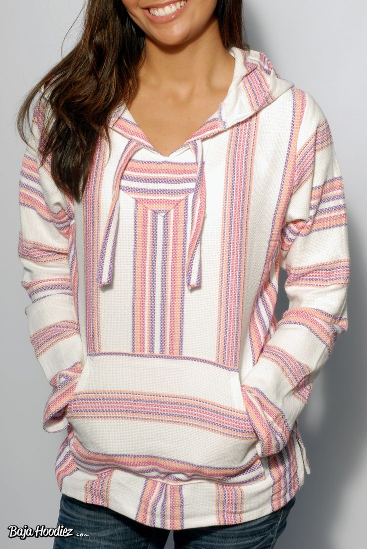 Pink, Coral, Purple and White Lightweight Baja Hoodie for Women. want want