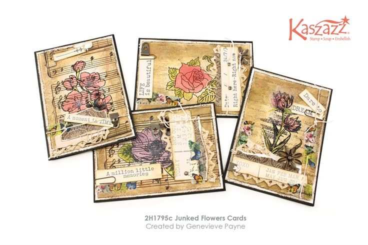 2H1795c Junked Flowers Cards