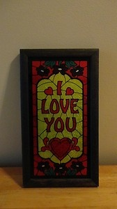 Vintage I Love You Retro Stained Glass Tin Foil Framed Sign