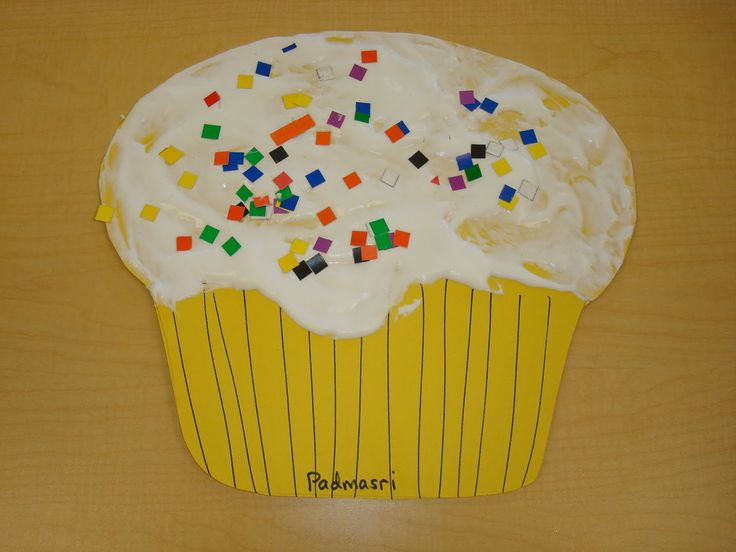 """Frost a cupcake with shaving cream, glue and food coloring)  Top with """"sprinkles"""", glitter, sequins, and/or candles (Trinity Preschool Mount Prospect: Cutest cupcake ever- preschool art idea)"""