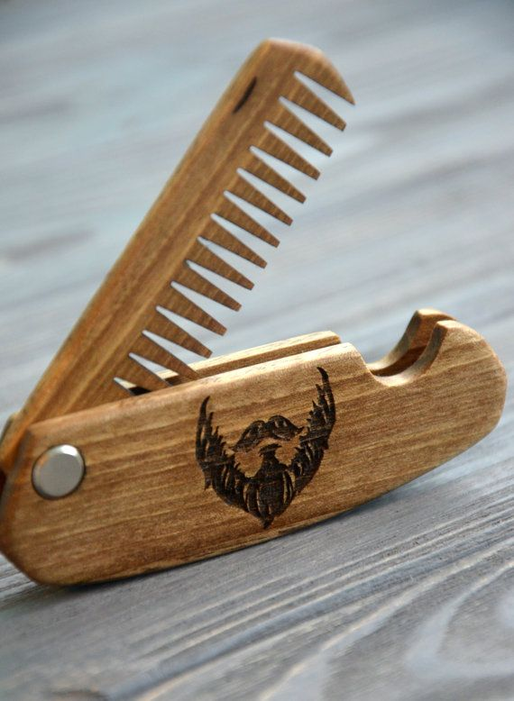 Folding comb Walnut Beard comb Personalized custom by EnjoyTheWood