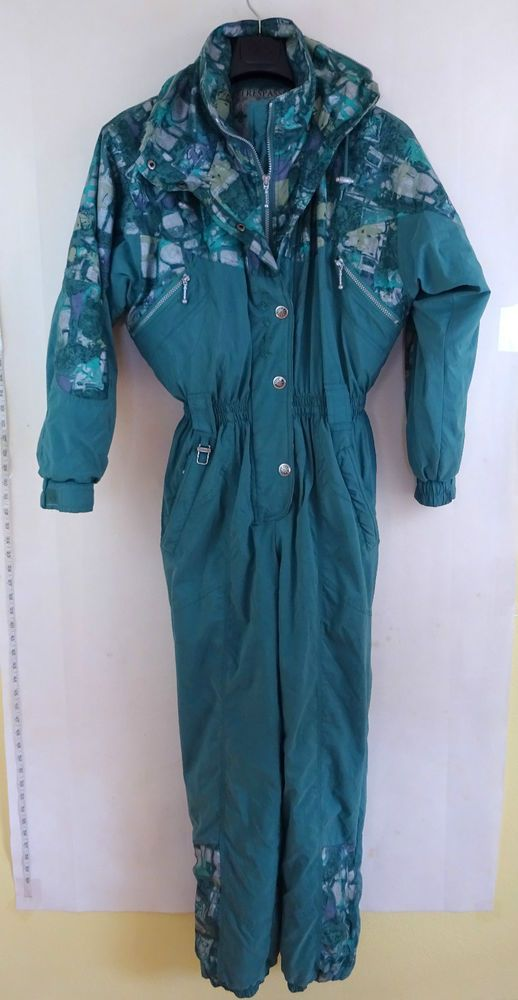 TRESPASS Vintage 1980's SkiSuit size SMALL Adult Ski Onesie UNISEX Green VGC in Sporting Goods, Skiing & Snowboarding, Clothing, Hats & Gloves | eBay