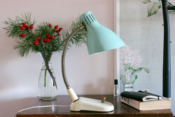 Soviet Desk Lamp / Pastel Blue & White USSR Vintage Metal Lamp Shade, Mid Century Rustic Table Top Lamp / Bendy Neck Aqua Reading Side Light