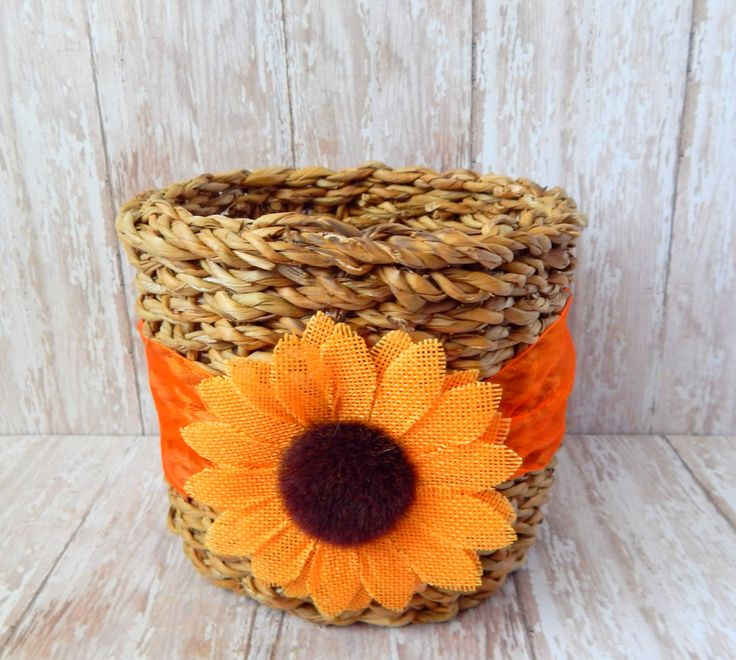 Fall Decor - Sunflower Decor - Harvest Decor - Fall Basket - Autumn Decor - Fall Candy Basket - Fall floral decor - Housewarming Gift by MakingLifeMemorable on Etsy